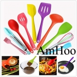 10Pcs/set Silicone Heat Resistant Kitchen Cooking Utensils Non-S